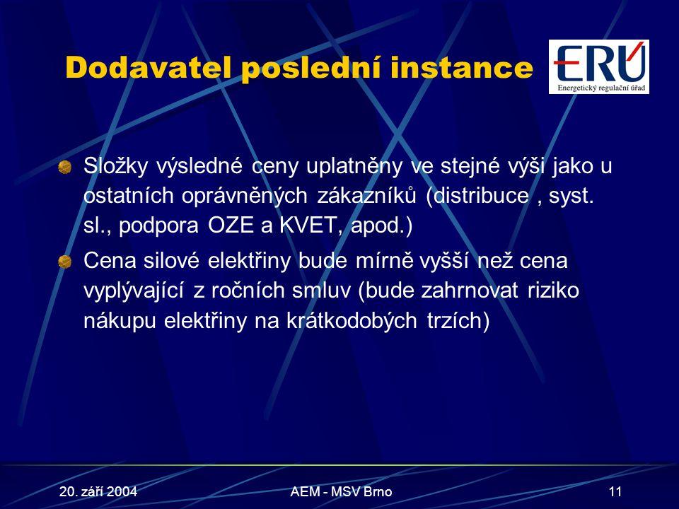 20. září 2004AEM - MSV Brno11 Dodavatel poslední instance Složky výsledné ceny uplatněny ve stejné výši jako u ostatních oprávněných zákazníků (distri
