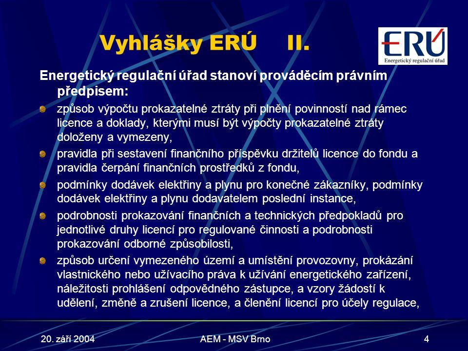 20. září 2004AEM - MSV Brno4 Vyhlášky ERÚII.