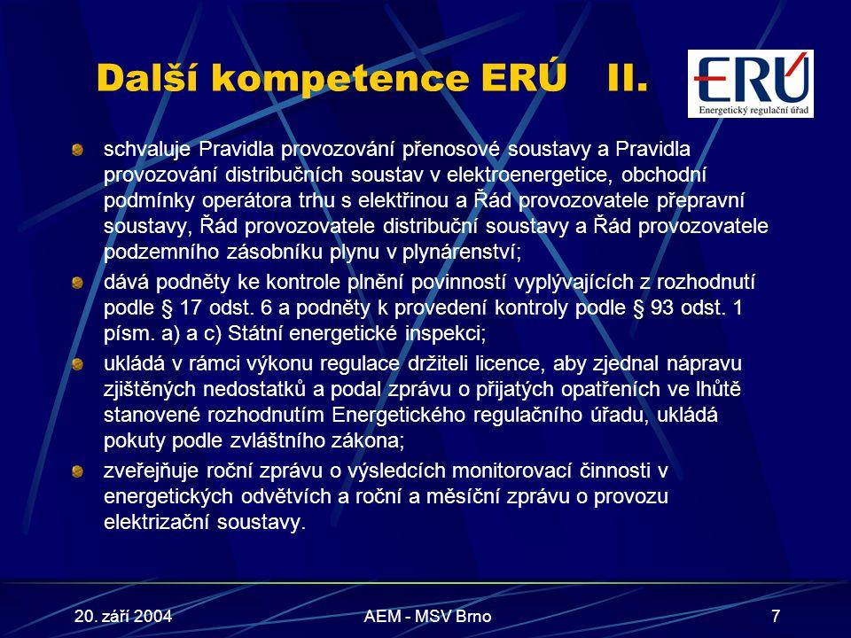20. září 2004AEM - MSV Brno7 Další kompetence ERÚII.