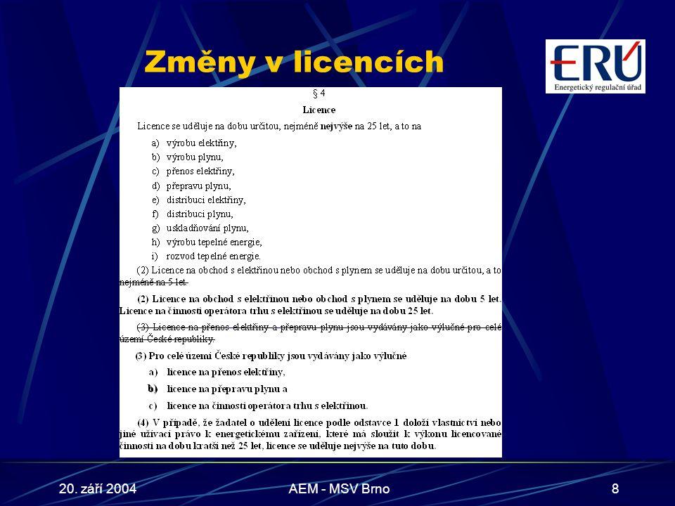 20. září 2004AEM - MSV Brno8 Změny v licencích