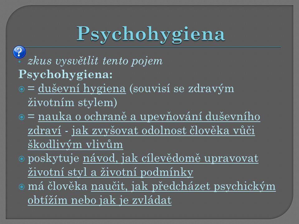 zkus vysvětlit tento pojem Psychohygiena:  = duševní hygiena (souvisí se zdravým životním stylem)  = nauka o ochraně a upevňování duševního zdraví - jak zvyšovat odolnost člověka vůči škodlivým vlivům  poskytuje návod, jak cílevědomě upravovat životní styl a životní podmínky  má člověka naučit, jak předcházet psychickým obtížím nebo jak je zvládat
