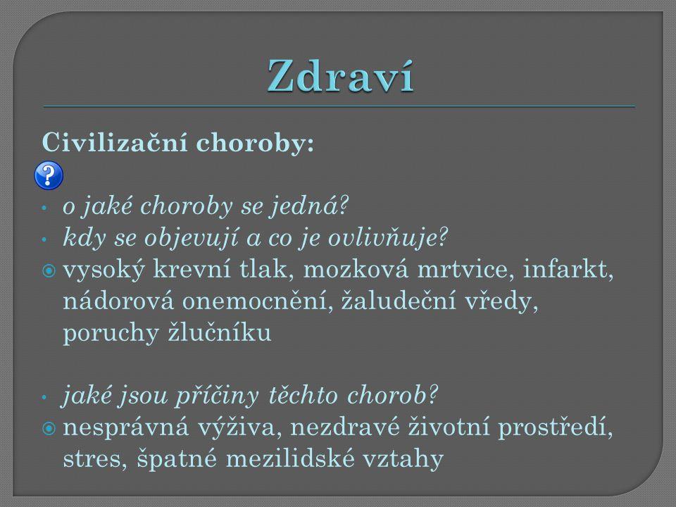 Civilizační choroby: o jaké choroby se jedná. kdy se objevují a co je ovlivňuje.