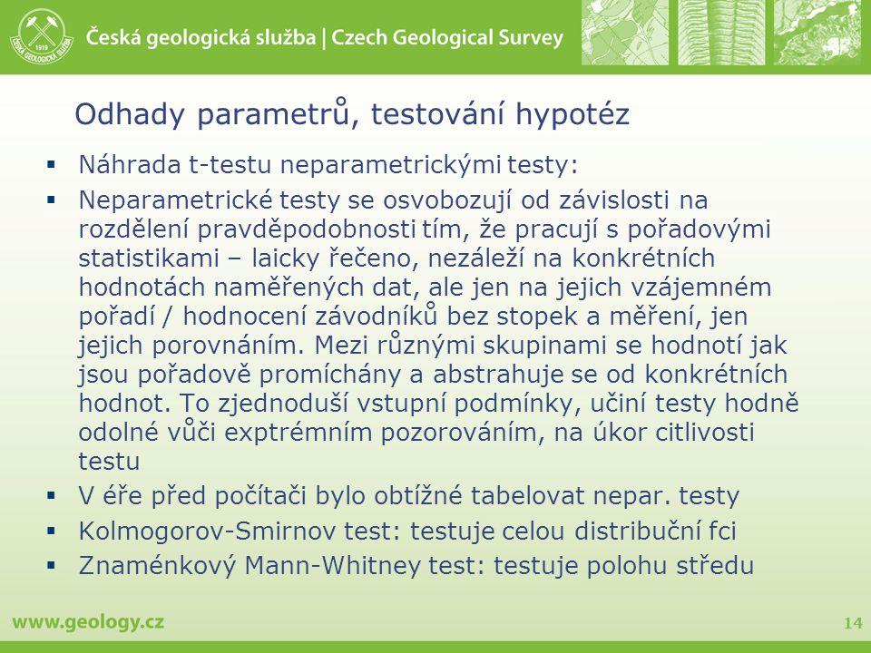 14 Odhady parametrů, testování hypotéz  Náhrada t-testu neparametrickými testy:  Neparametrické testy se osvobozují od závislosti na rozdělení pravd