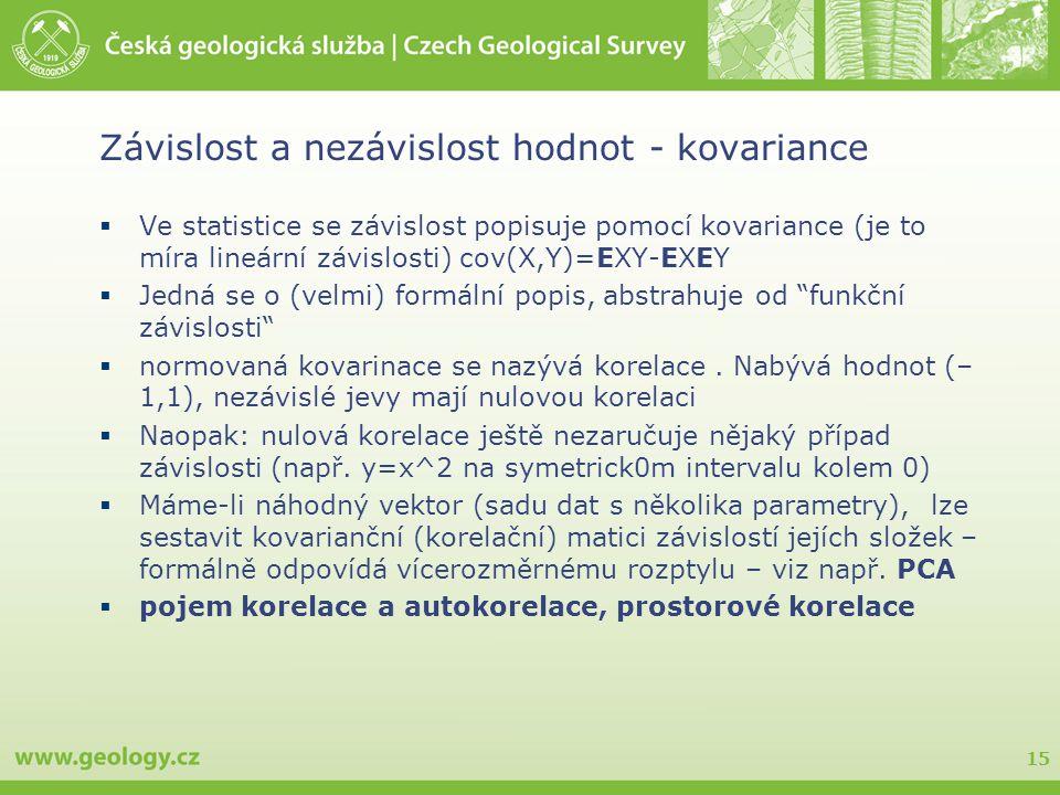 15 Závislost a nezávislost hodnot - kovariance  Ve statistice se závislost popisuje pomocí kovariance (je to míra lineární závislosti) cov(X,Y)=EXY-EXEY  Jedná se o (velmi) formální popis, abstrahuje od funkční závislosti  normovaná kovarinace se nazývá korelace.