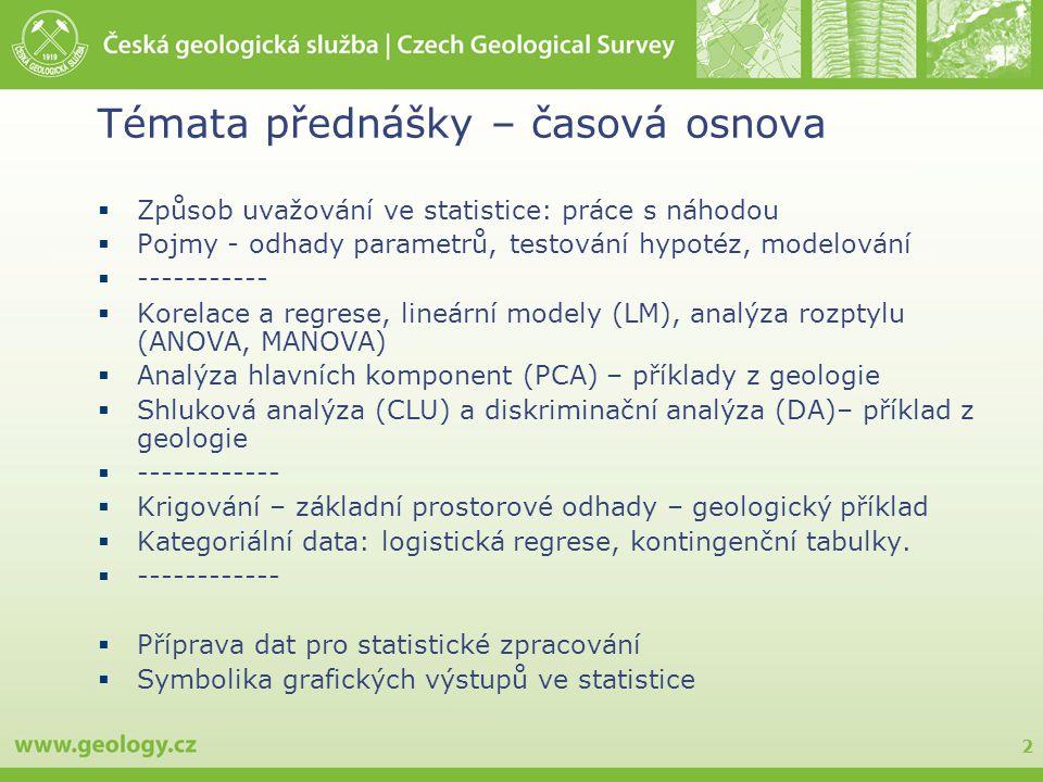 2 Témata přednášky – časová osnova  Způsob uvažování ve statistice: práce s náhodou  Pojmy - odhady parametrů, testování hypotéz, modelování  -----------  Korelace a regrese, lineární modely (LM), analýza rozptylu (ANOVA, MANOVA)  Analýza hlavních komponent (PCA) – příklady z geologie  Shluková analýza (CLU) a diskriminační analýza (DA)– příklad z geologie  ------------  Krigování – základní prostorové odhady – geologický příklad  Kategoriální data: logistická regrese, kontingenční tabulky.
