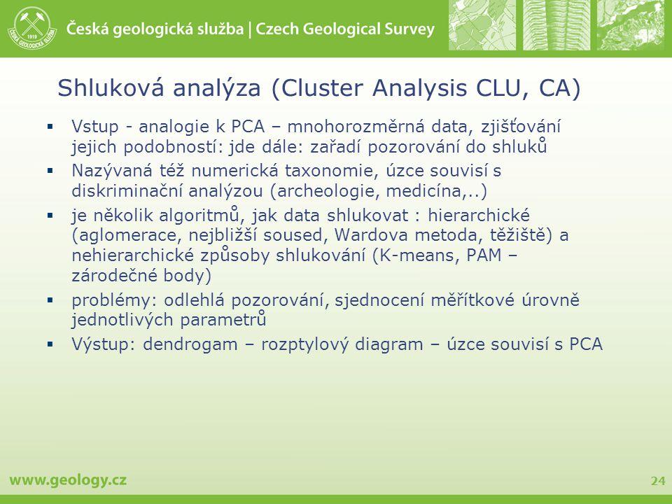 24 Shluková analýza (Cluster Analysis CLU, CA)  Vstup - analogie k PCA – mnohorozměrná data, zjišťování jejich podobností: jde dále: zařadí pozorování do shluků  Nazývaná též numerická taxonomie, úzce souvisí s diskriminační analýzou (archeologie, medicína,..)  je několik algoritmů, jak data shlukovat : hierarchické (aglomerace, nejbližší soused, Wardova metoda, těžiště) a nehierarchické způsoby shlukování (K-means, PAM – zárodečné body)  problémy: odlehlá pozorování, sjednocení měřítkové úrovně jednotlivých parametrů  Výstup: dendrogam – rozptylový diagram – úzce souvisí s PCA