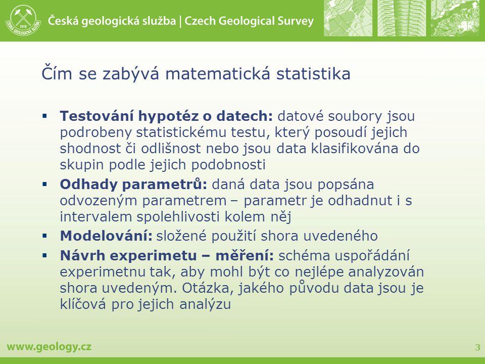 3 Čím se zabývá matematická statistika  Testování hypotéz o datech: datové soubory jsou podrobeny statistickému testu, který posoudí jejich shodnost či odlišnost nebo jsou data klasifikována do skupin podle jejich podobnosti  Odhady parametrů: daná data jsou popsána odvozeným parametrem – parametr je odhadnut i s intervalem spolehlivosti kolem něj  Modelování: složené použití shora uvedeného  Návrh experimetu – měření: schéma uspořádání experimetnu tak, aby mohl být co nejlépe analyzován shora uvedeným.