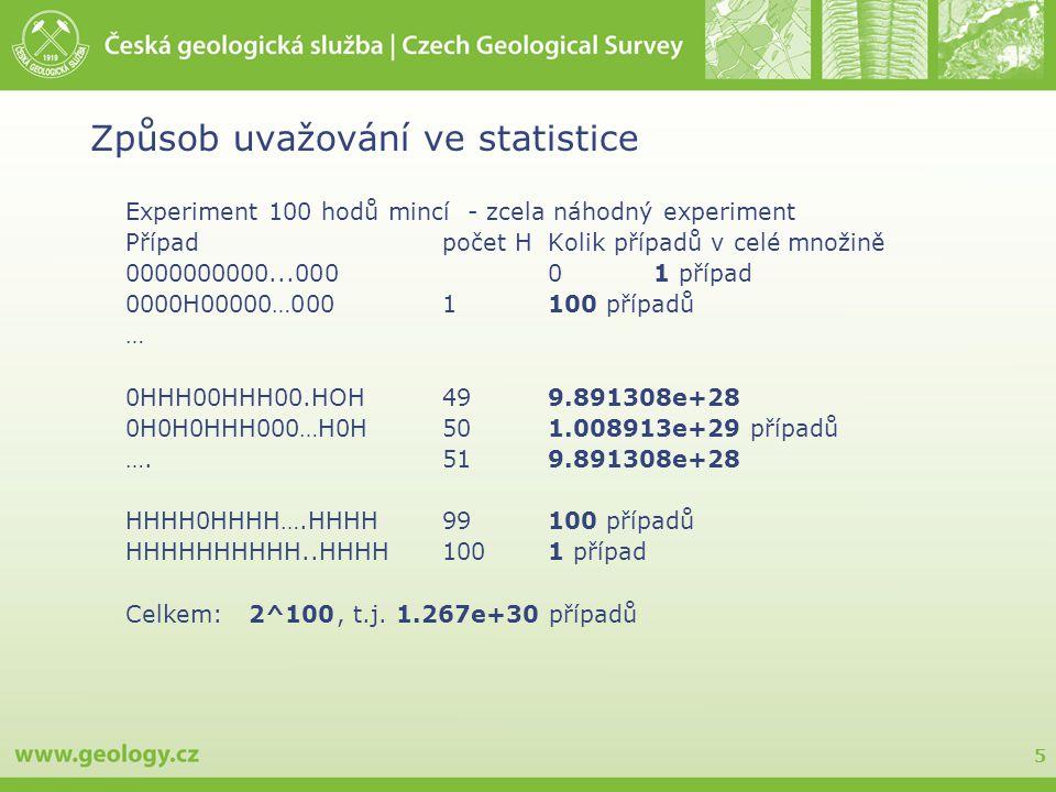 5 Experiment 100 hodů mincí - zcela náhodný experiment Případpočet HKolik případů v celé množině 0000000000...00001 případ 0000H00000…000 1100 případů