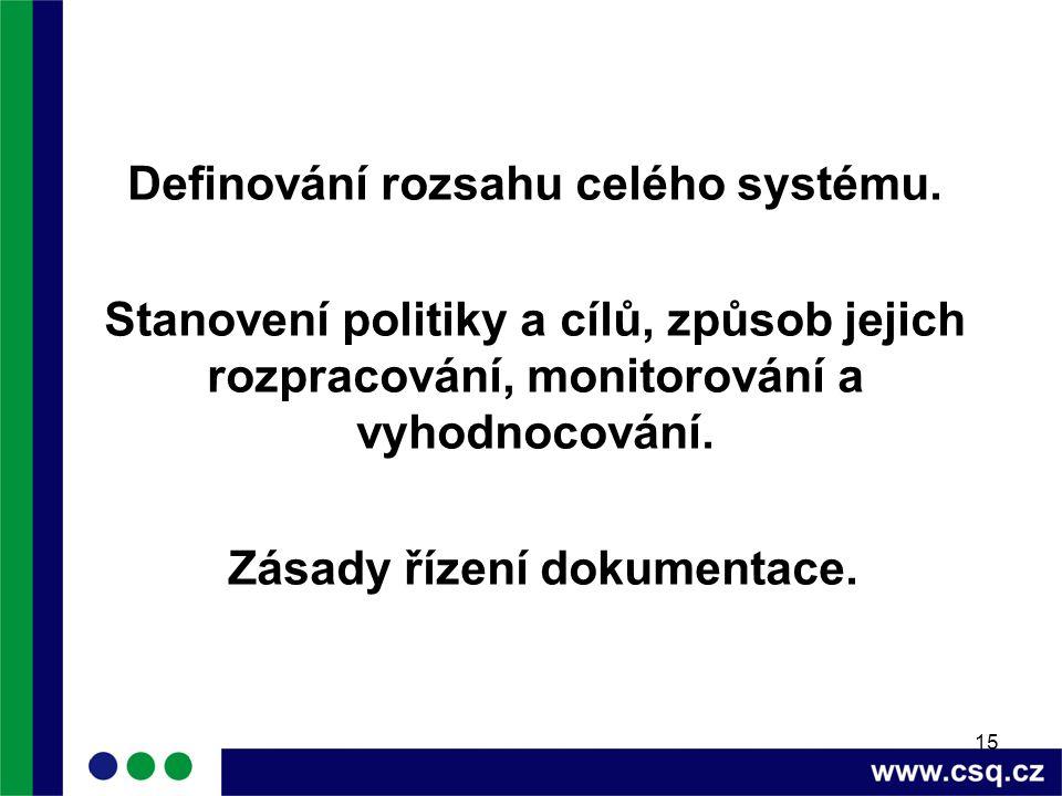 15 Definování rozsahu celého systému. Stanovení politiky a cílů, způsob jejich rozpracování, monitorování a vyhodnocování. Zásady řízení dokumentace.