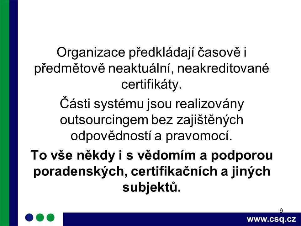 9 Organizace předkládají časově i předmětově neaktuální, neakreditované certifikáty.
