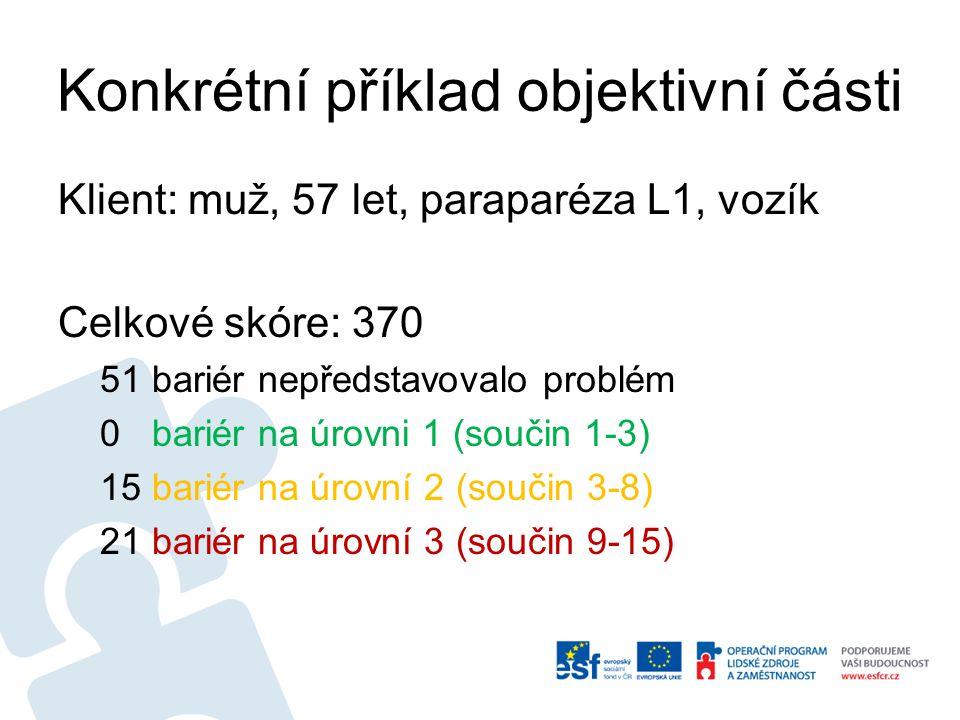 Konkrétní příklad objektivní části Klient: muž, 57 let, paraparéza L1, vozík Celkové skóre: 370 51 bariér nepředstavovalo problém 0 bariér na úrovni 1 (součin 1-3) 15 bariér na úrovní 2 (součin 3-8) 21 bariér na úrovní 3 (součin 9-15)