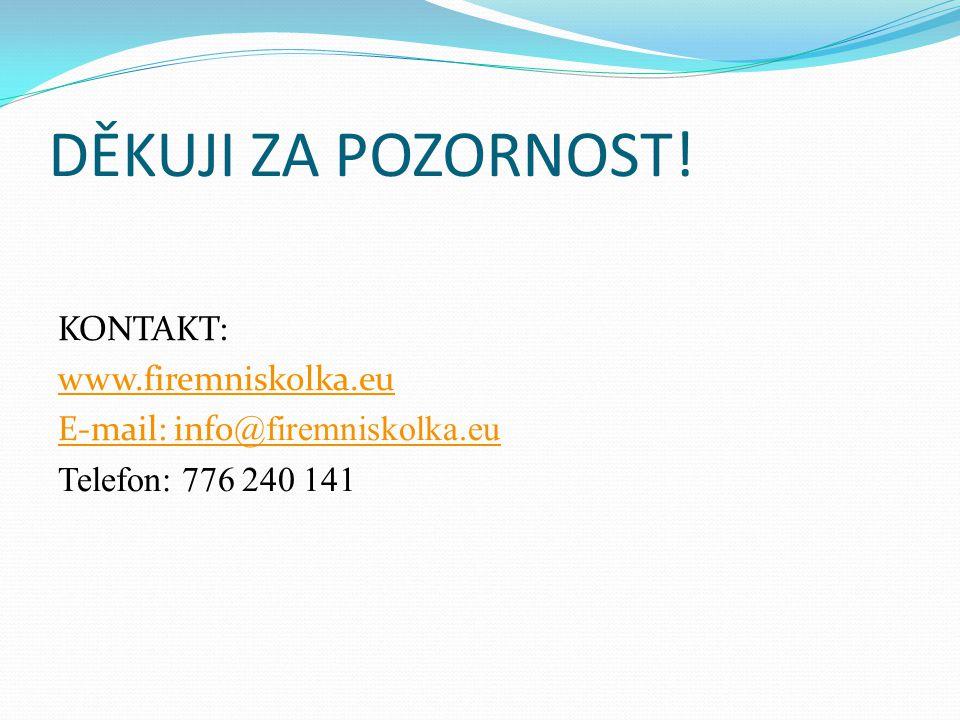 DĚKUJI ZA POZORNOST! KONTAKT: www.firemniskolka.eu E-mail: info @firemniskolka.eu Telefon: 776 240 141