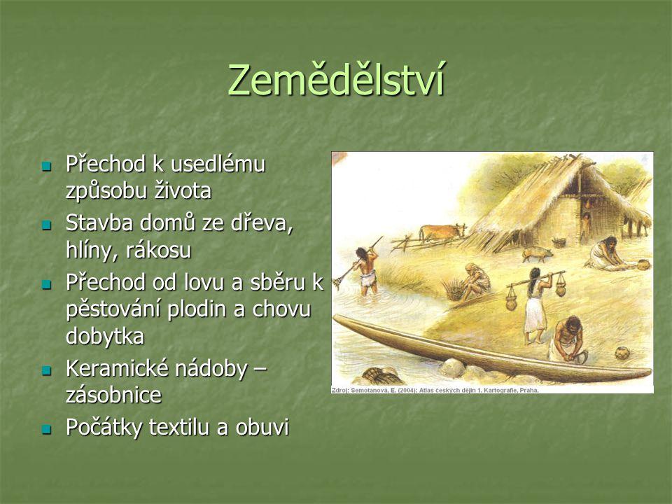 Zemědělství Přechod k usedlému způsobu života Přechod k usedlému způsobu života Stavba domů ze dřeva, hlíny, rákosu Stavba domů ze dřeva, hlíny, rákosu Přechod od lovu a sběru k pěstování plodin a chovu dobytka Přechod od lovu a sběru k pěstování plodin a chovu dobytka Keramické nádoby – zásobnice Keramické nádoby – zásobnice Počátky textilu a obuvi Počátky textilu a obuvi