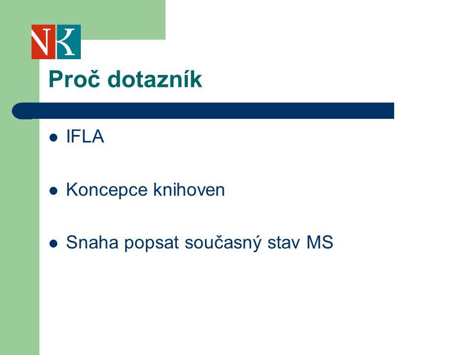 Proč dotazník IFLA Koncepce knihoven Snaha popsat současný stav MS