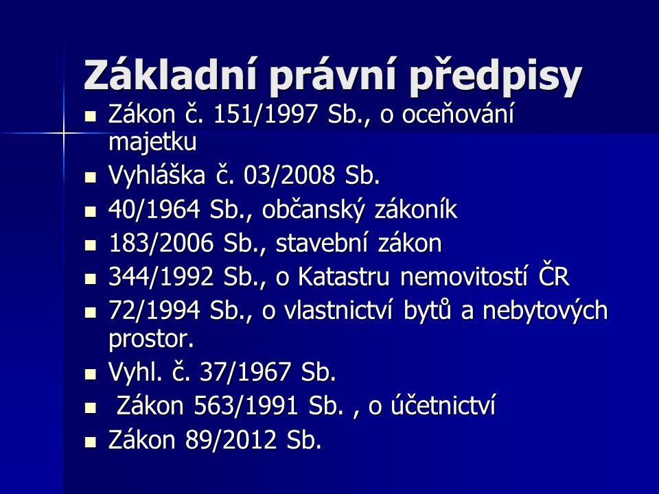 Základní právní předpisy Zákon č. 151/1997 Sb., o oceňování majetku Zákon č.