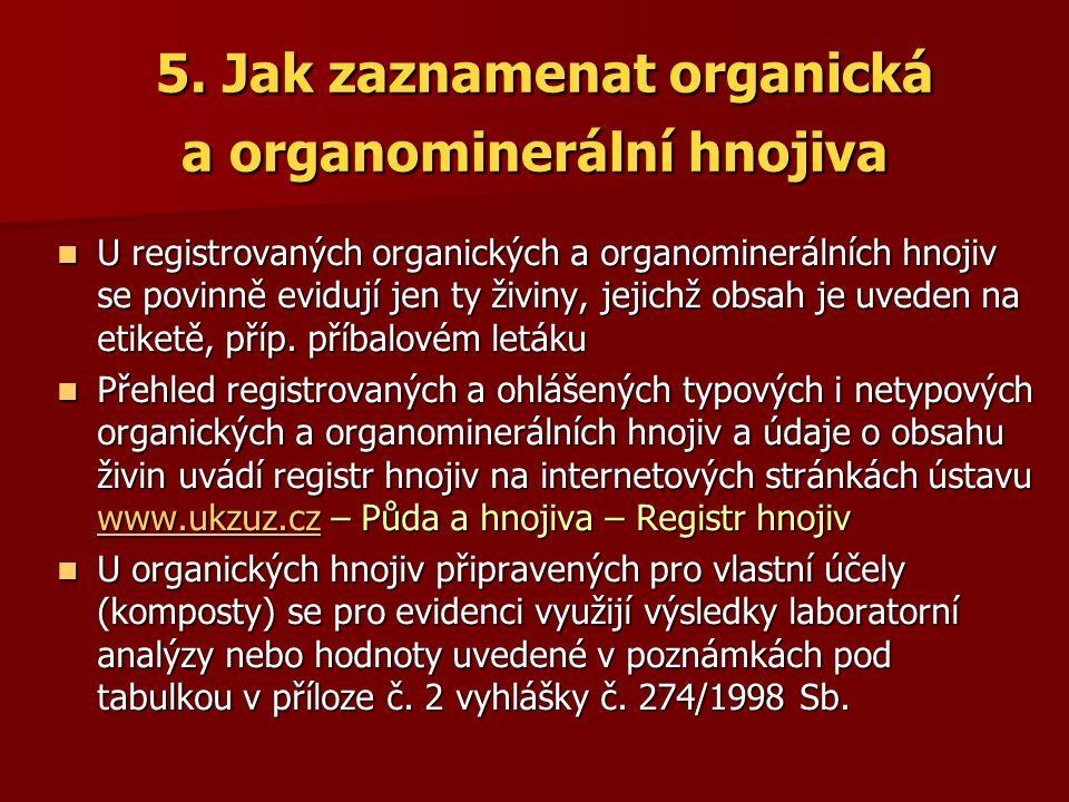 5. Jak zaznamenat organická a organominerální hnojiva 5. Jak zaznamenat organická a organominerální hnojiva U registrovaných organických a organominer