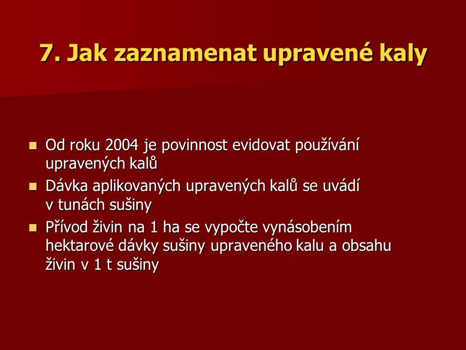 7. Jak zaznamenat upravené kaly Od roku 2004 je povinnost evidovat používání upravených kalů Od roku 2004 je povinnost evidovat používání upravených k