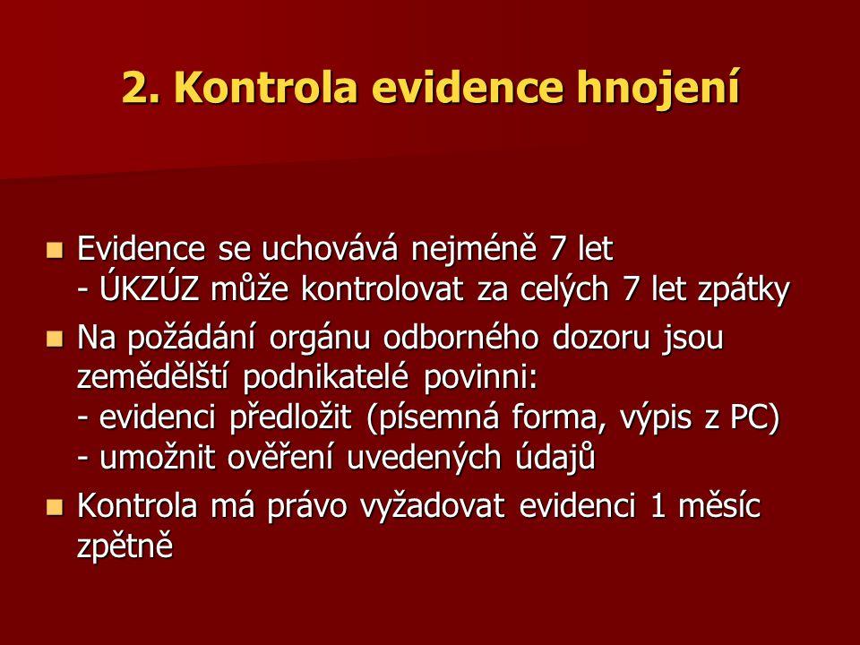 2. Kontrola evidence hnojení Evidence se uchovává nejméně 7 let - ÚKZÚZ může kontrolovat za celých 7 let zpátky Evidence se uchovává nejméně 7 let - Ú