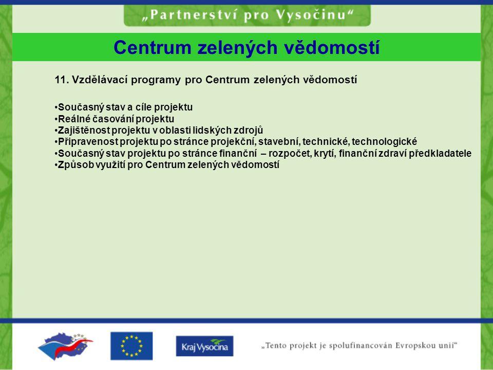 11. Vzdělávací programy pro Centrum zelených vědomostí Současný stav a cíle projektu Reálné časování projektu Zajištěnost projektu v oblasti lidských