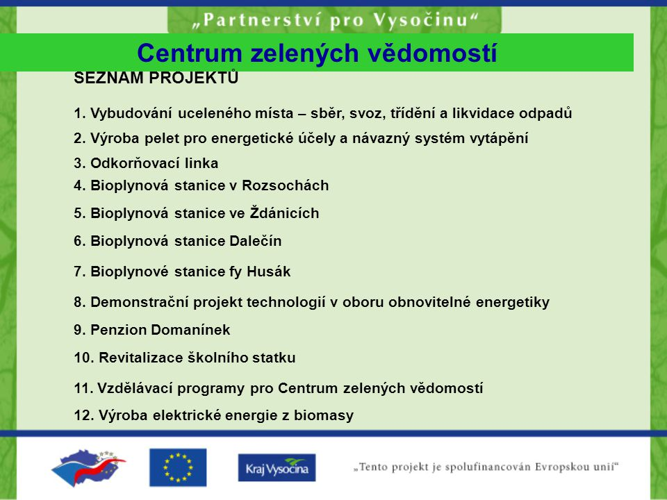 Centrum zelených vědomostí SEZNAM PROJEKTŮ 1.