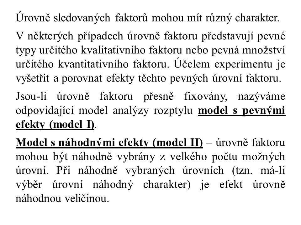 Ve složitějších modelech analýzy rozptylu budeme pracovat i se sloupcovými součty, resp.