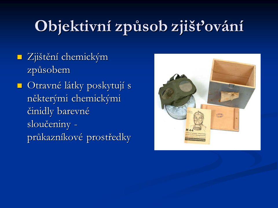 Objektivní způsob zjišťování Zjištění chemickým způsobem Zjištění chemickým způsobem Otravné látky poskytují s některými chemickými činidly barevné sl