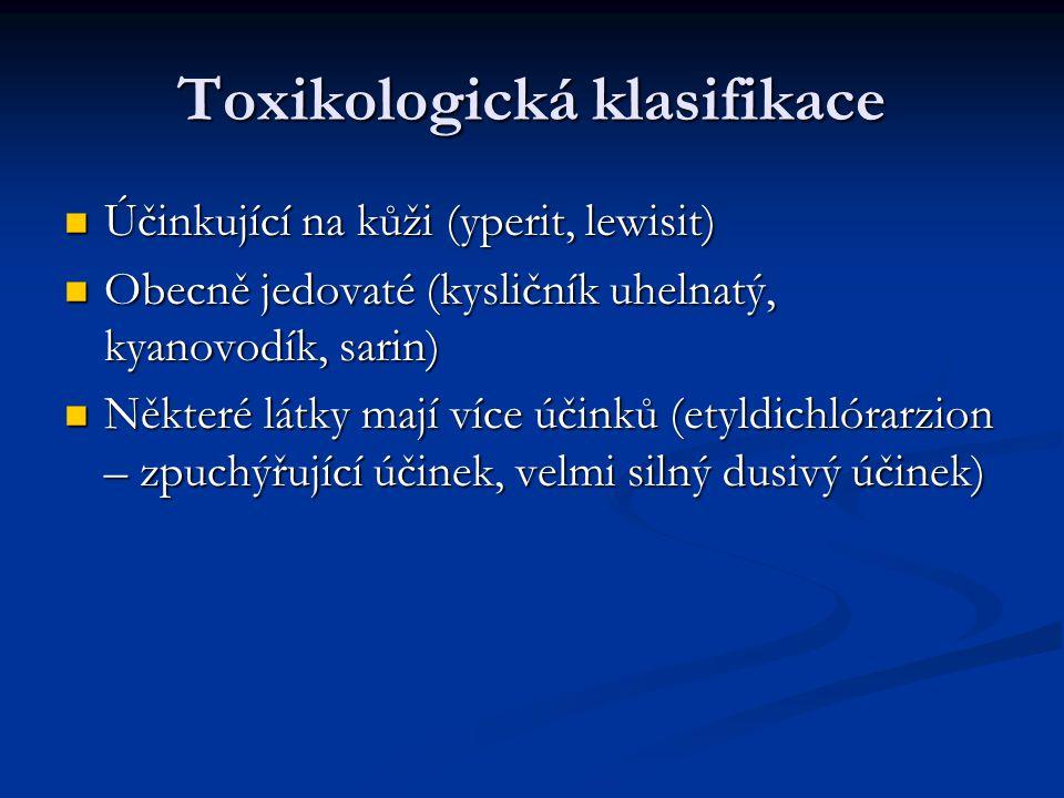 Toxikologická klasifikace Účinkující na kůži (yperit, lewisit) Účinkující na kůži (yperit, lewisit) Obecně jedovaté (kysličník uhelnatý, kyanovodík, s