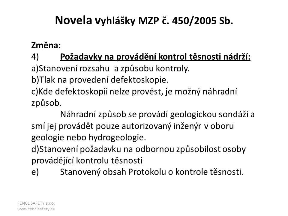 Novela v yhlášky MZP č. 450/2005 Sb. Změna: 4)Požadavky na provádění kontrol těsnosti nádrží: a)Stanovení rozsahu a způsobu kontroly. b)Tlak na proved