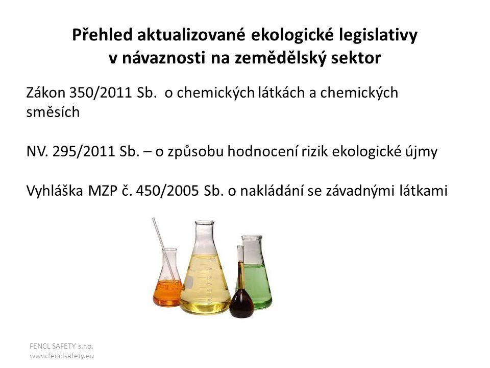 Přehled aktualizované ekologické legislativy v návaznosti na zemědělský sektor Zákon 350/2011 Sb. o chemických látkách a chemických směsích NV. 295/20
