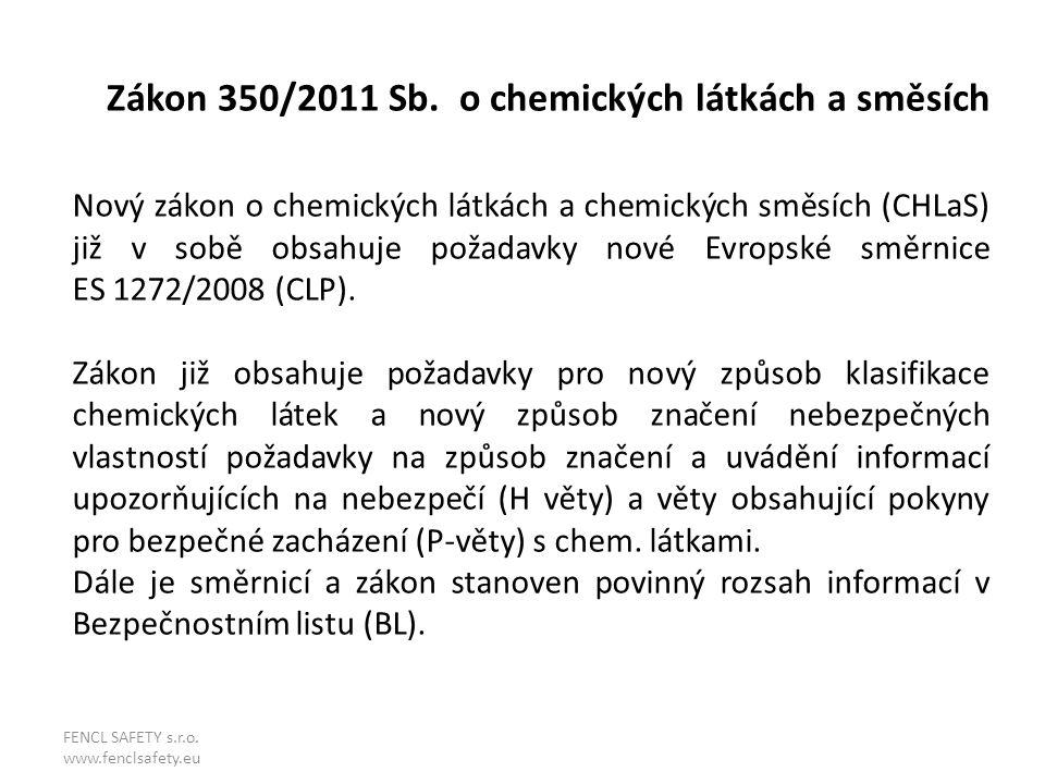 Zákon 350/2011 Sb. o chemických látkách a směsích Nový zákon o chemických látkách a chemických směsích (CHLaS) již v sobě obsahuje požadavky nové Evro