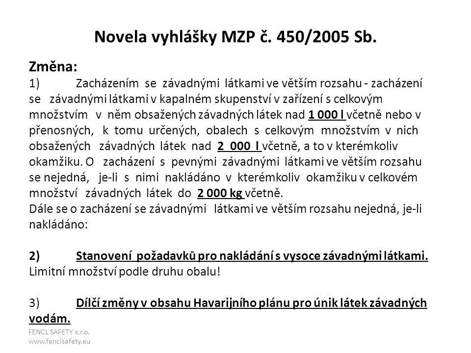 Novela vyhlášky MZP č. 450/2005 Sb. Změna: 1)Zacházením se závadnými látkami ve větším rozsahu - zacházení se závadnými látkami v kapalném skupenství