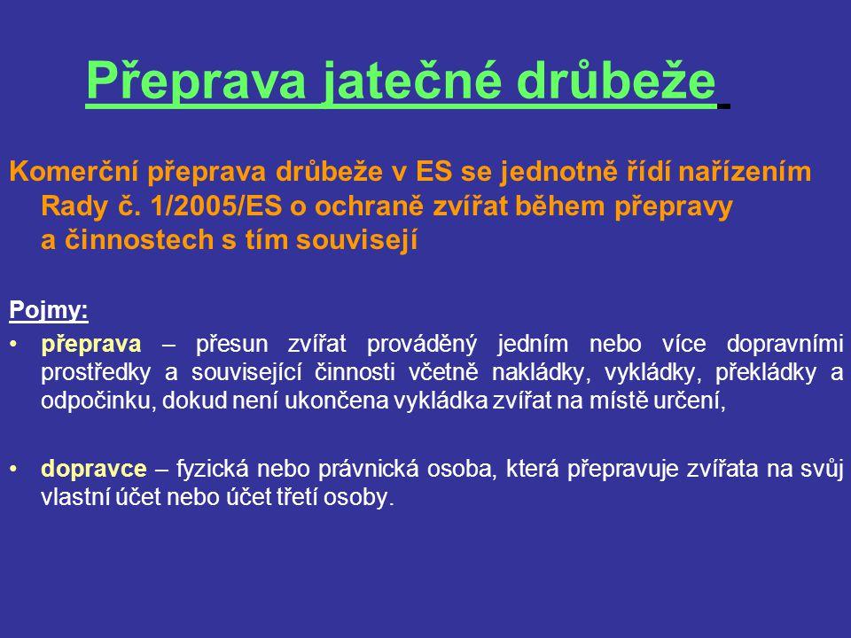 Přeprava jatečné drůbeže Komerční přeprava drůbeže v ES se jednotně řídí nařízením Rady č. 1/2005/ES o ochraně zvířat během přepravy a činnostech s tí