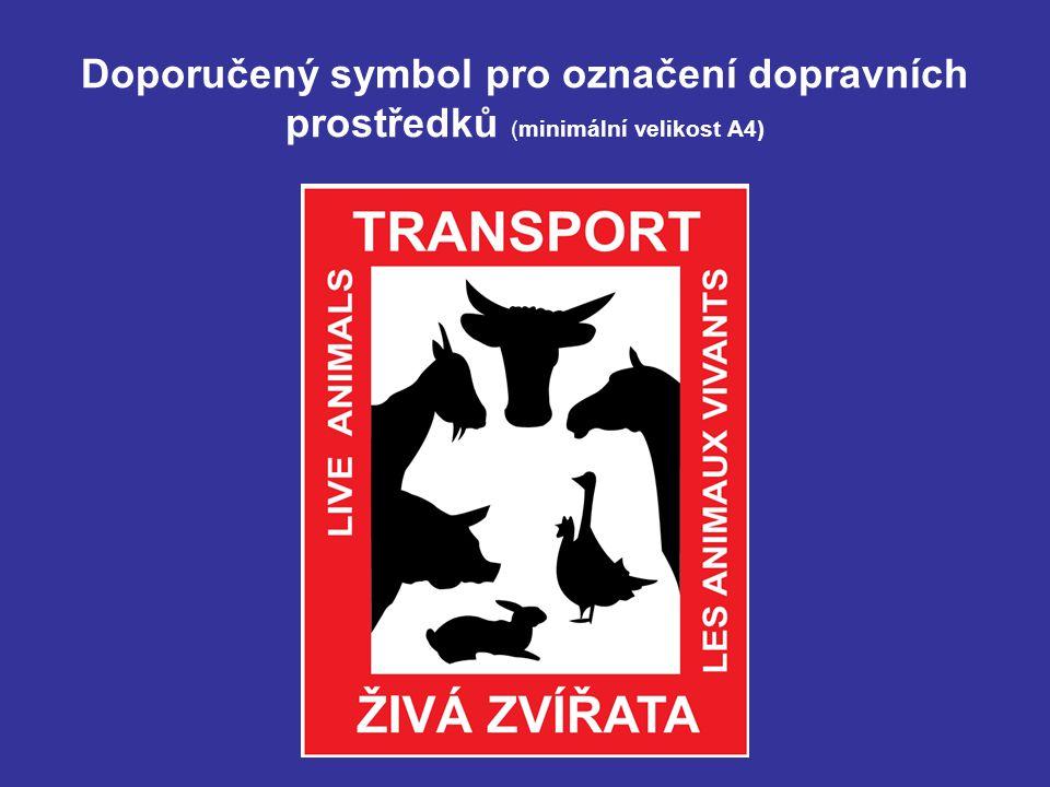 Doporučený symbol pro označení dopravních prostředků (minimální velikost A4)