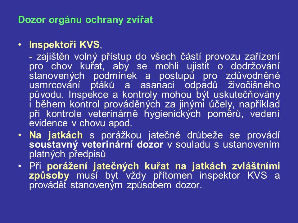 Dozor orgánu ochrany zvířat Inspektoři KVS, - zajištěn volný přístup do všech částí provozu zařízení pro chov kuřat, aby se mohli ujistit o dodržování