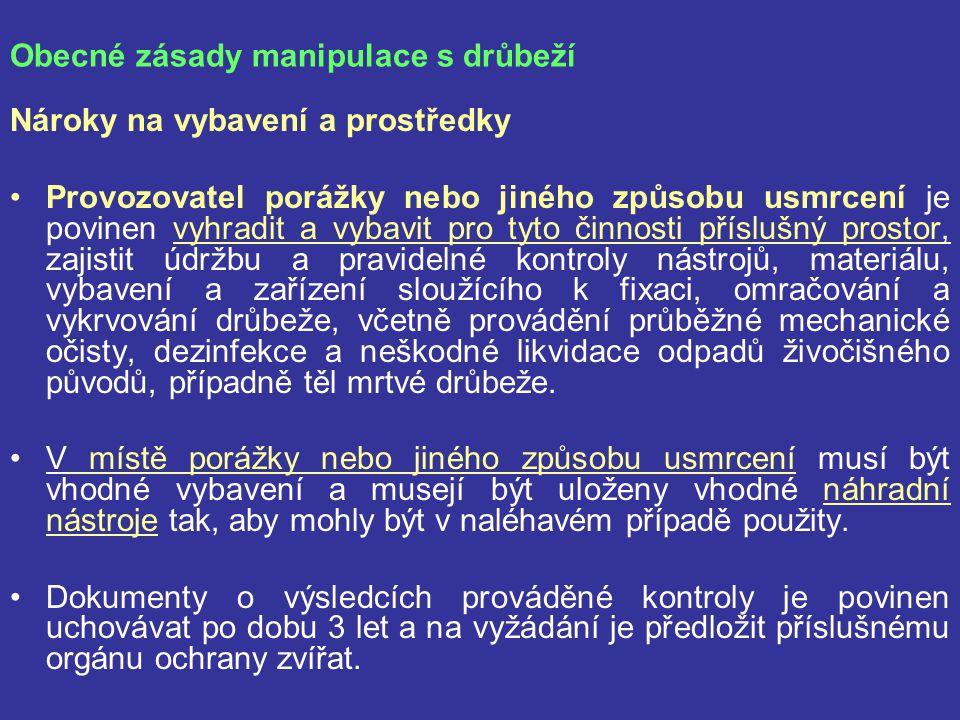Přeprava jatečné drůbeže Komerční přeprava drůbeže v ES se jednotně řídí nařízením Rady č.