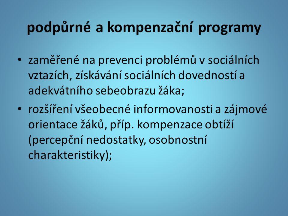 podpůrné a kompenzační programy zaměřené na prevenci problémů v sociálních vztazích, získávání sociálních dovedností a adekvátního sebeobrazu žáka; ro