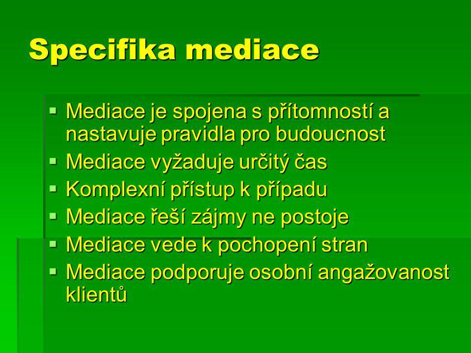 Specifika mediace  Mediace je spojena s přítomností a nastavuje pravidla pro budoucnost  Mediace vyžaduje určitý čas  Komplexní přístup k případu  Mediace řeší zájmy ne postoje  Mediace vede k pochopení stran  Mediace podporuje osobní angažovanost klientů