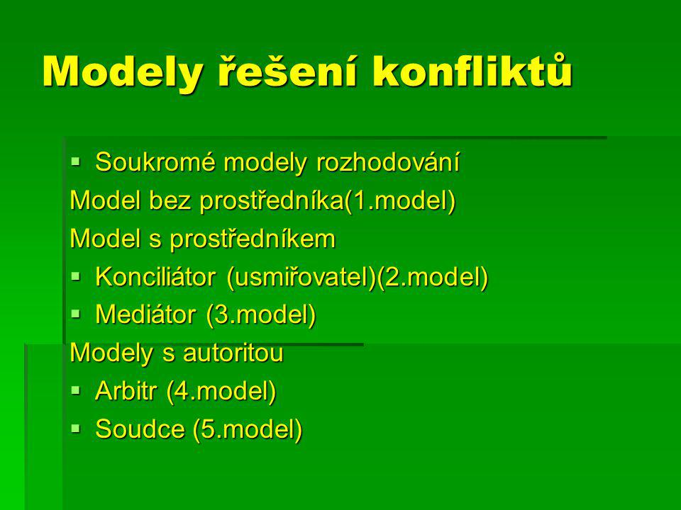 Modely řešení konfliktů  Soukromé modely rozhodování Model bez prostředníka(1.model) Model s prostředníkem  Konciliátor (usmiřovatel)(2.model)  Mediátor (3.model) Modely s autoritou  Arbitr (4.model)  Soudce (5.model)