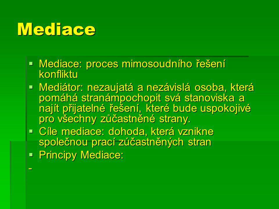 Mediace  Mediace: proces mimosoudního řešení konfliktu  Mediátor: nezaujatá a nezávislá osoba, která pomáhá stranámpochopit svá stanoviska a najít přijatelné řešení, které bude uspokojivé pro všechny zůčastněné strany.
