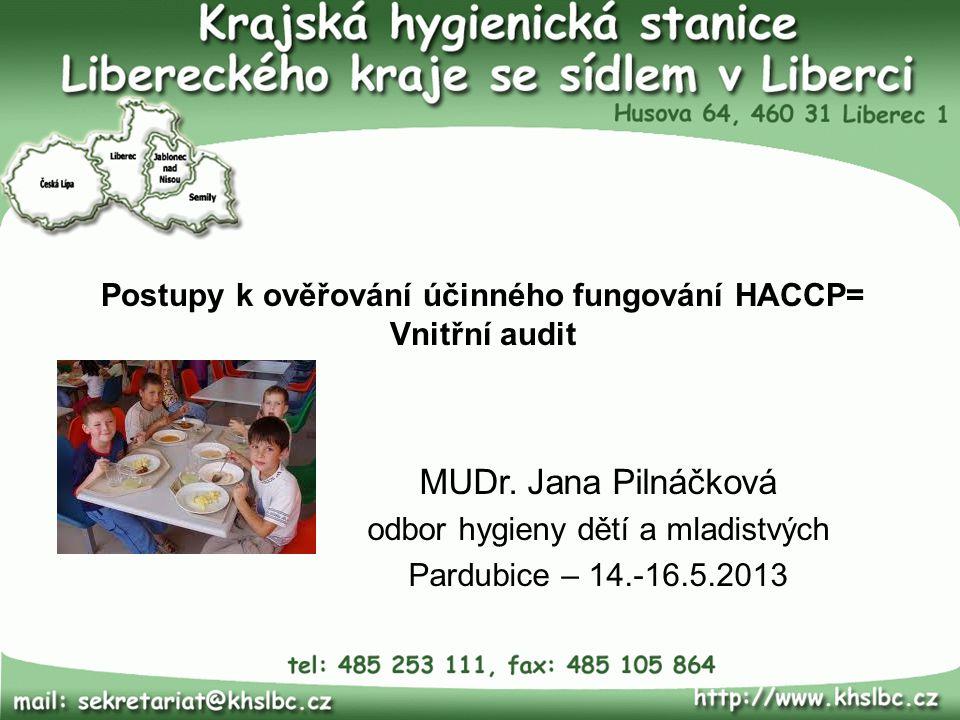 Postupy k ověřování účinného fungování HACCP= Vnitřní audit MUDr. Jana Pilnáčková odbor hygieny dětí a mladistvých Pardubice – 14.-16.5.2013