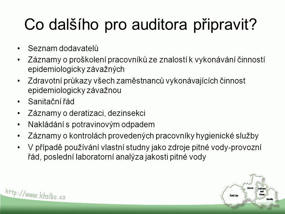 Co dalšího pro auditora připravit? Seznam dodavatelů Záznamy o proškolení pracovníků ze znalostí k vykonávání činností epidemiologicky závažných Zdrav