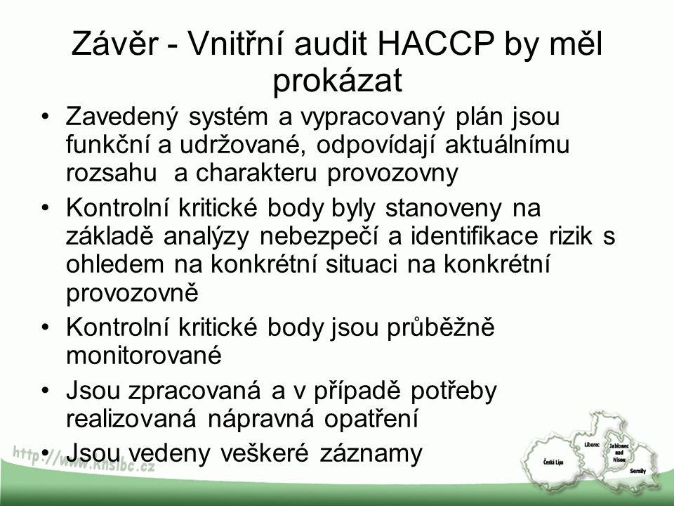 Závěr - Vnitřní audit HACCP by měl prokázat Zavedený systém a vypracovaný plán jsou funkční a udržované, odpovídají aktuálnímu rozsahu a charakteru pr