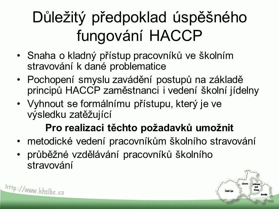 Důležitý předpoklad úspěšného fungování HACCP Snaha o kladný přístup pracovníků ve školním stravování k dané problematice Pochopení smyslu zavádění po