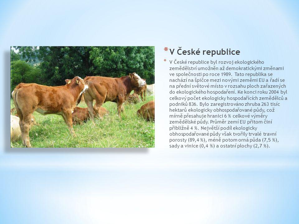 * V České republice * V České republice byl rozvoj ekologického zemědělství umožněn až demokratickými změnami ve společnosti po roce 1989. Tato republ