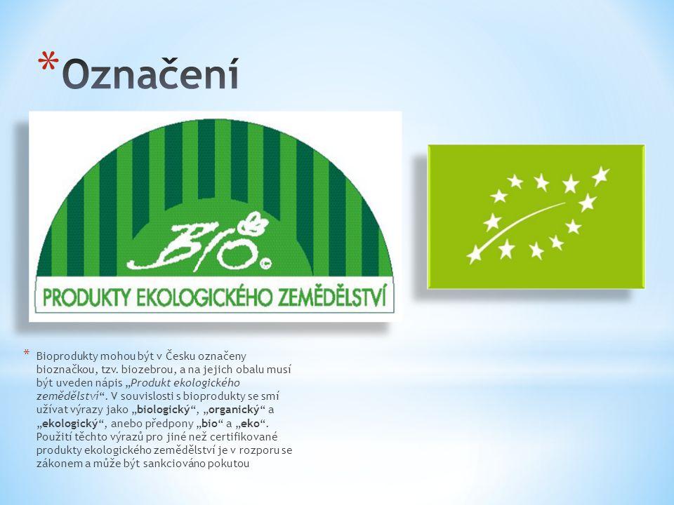"""* Bioprodukty mohou být v Česku označeny bioznačkou, tzv. biozebrou, a na jejich obalu musí být uveden nápis """"Produkt ekologického zemědělství"""". V sou"""