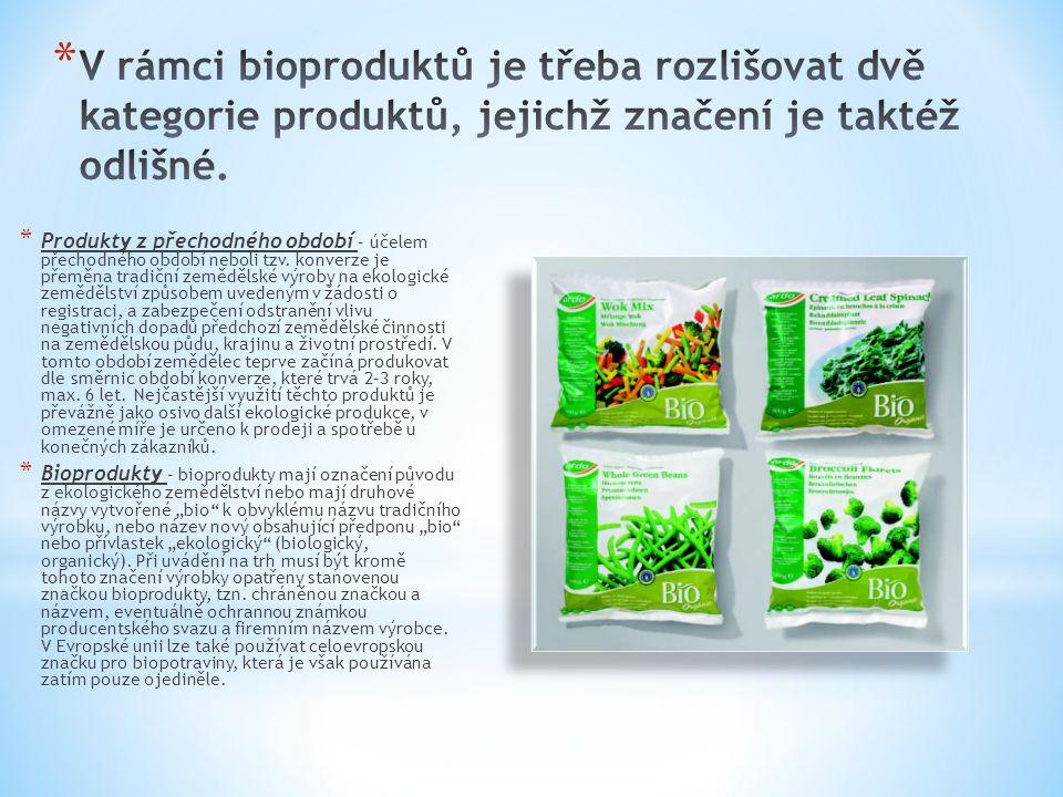 * Produkty z přechodného období – účelem přechodného období neboli tzv. konverze je přeměna tradiční zemědělské výroby na ekologické zemědělství způso