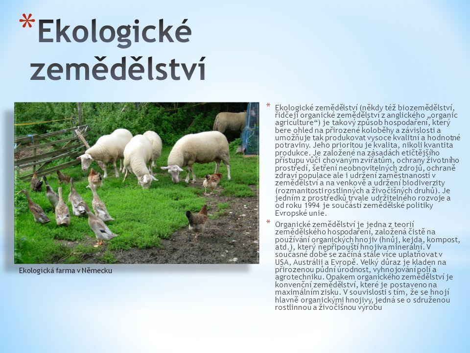 """* Ekologické zemědělství (někdy též biozemědělství, řidčeji organické zemědělství z anglického """"organic agriculture ) je takový způsob hospodaření, který bere ohled na přirozené koloběhy a závislosti a umožňuje tak produkovat vysoce kvalitní a hodnotné potraviny."""