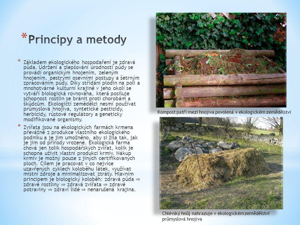 * Základem ekologického hospodaření je zdravá půda. Udržení a zlepšování úrodnosti půdy se provádí organickým hnojením, zeleným hnojením, pestrými ose