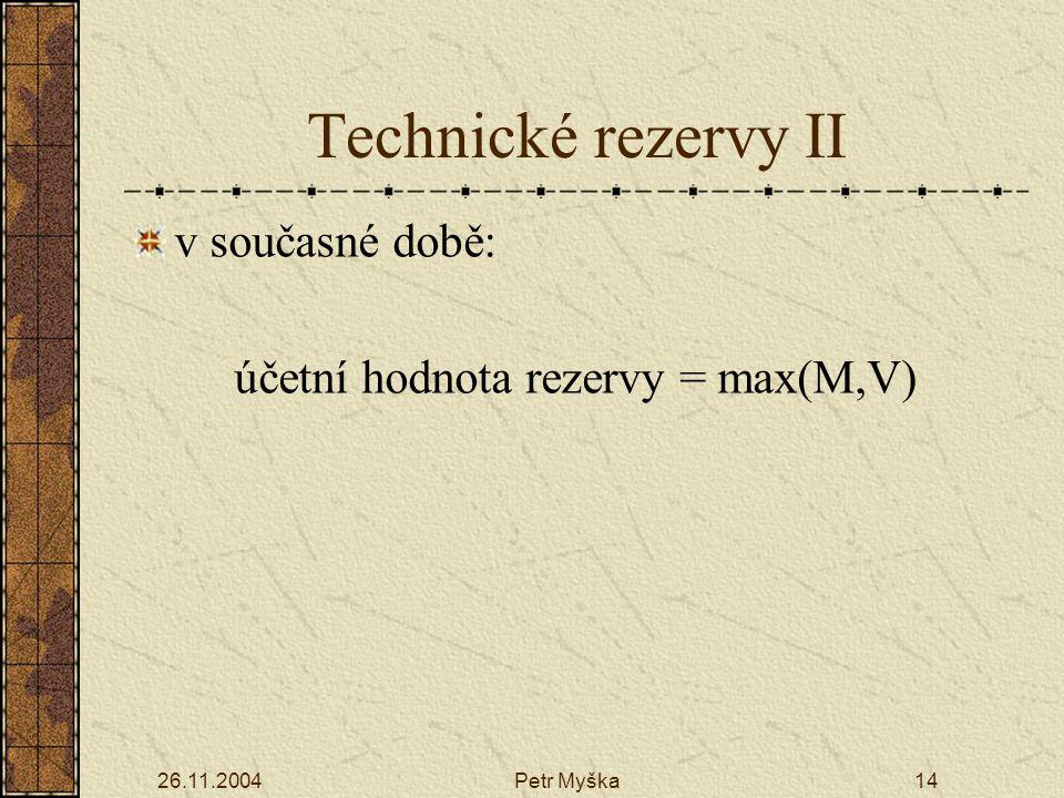 26.11.2004Petr Myška14 Technické rezervy II v současné době: účetní hodnota rezervy = max(M,V)