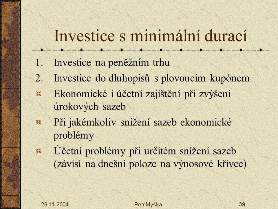 26.11.2004Petr Myška39 Investice s minimální durací 1.Investice na peněžním trhu 2.Investice do dluhopisů s plovoucím kupónem Ekonomické i účetní zajištění při zvýšení úrokových sazeb Při jakémkoliv snížení sazeb ekonomické problémy Účetní problémy při určitém snížení sazeb (závisí na dnešní poloze na výnosové křivce)